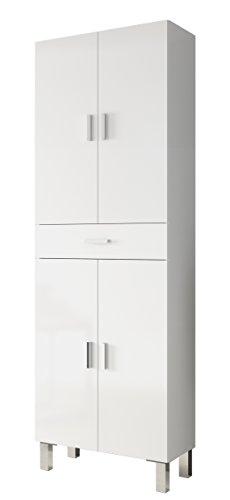 Arkitmobel 305280BO - Colonne de salle de bains, meuble latéral Aruba blanc brillant, dimensions : 60 cm (largeur) x 182 cm (hauteur) x 29 cm (profondeur)