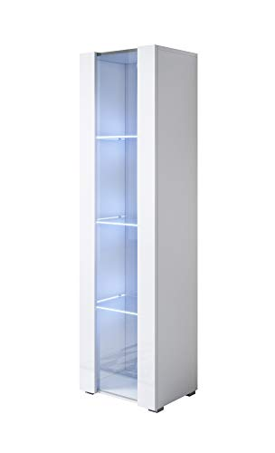 belle armoire Luke V5 (40x167cm) couleur blanc avec pieds standard