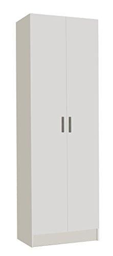Habitdesign 007144O - Armoire polyvalente à deux portes, armoire auxiliaire de couleur blanche, dimensions 180 x 58,5 x 37 cm profondeur
