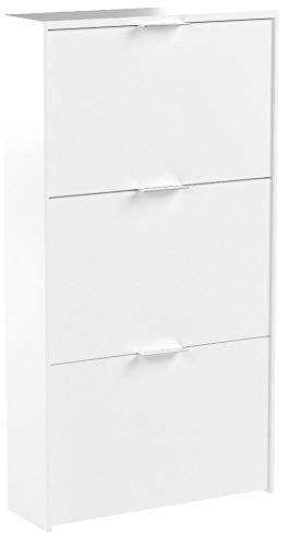 Habitdesign LC7877BO - Etagère à chaussures 3 portes capacité 18 paires, couleur blanc vif