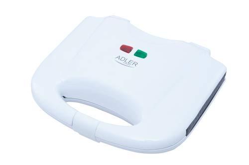 gaufrier adler, 750 W, 0 décibels, plastique, blanc