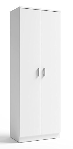 Armoire Zapatero 2 Portes en couleur blanche avec étagères Intérieur de fabrication nationale 60x35x171 cm