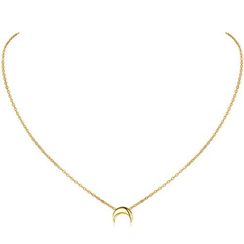 ChicSilver Small Medium Moon pour femme Collier pour femme Collier en argent 925 Sterling Or jaune 18K Simple et élégante chaîne de collier de bijoux en or jaune 18K
