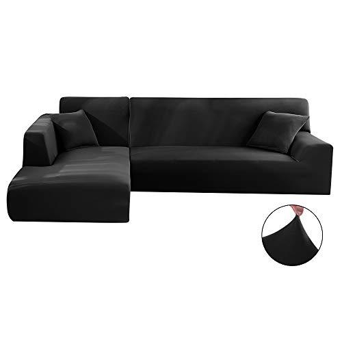 Housse de couverture de canapé Comficent Chaise Longue, Protecteur pour le bras gauche rembourré du canapé. 3 carrés (190-230 cm),4 carrés (230-300 cm. (Noir, 230_x_300_cm-4 places)
