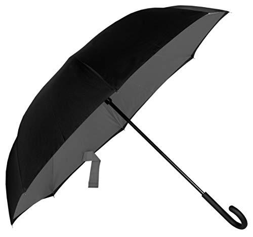 Parapluie Baciami Double Couche Parapluie Inversé 98cm Reverse Umbrella, Couleurs Réversibles, Noir-Gris