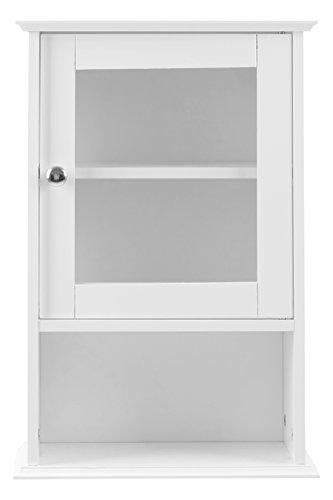 Premier Housewares - Meuble haut avec étagère et porte vitrée (51 x 35 x 18 cm), blanc