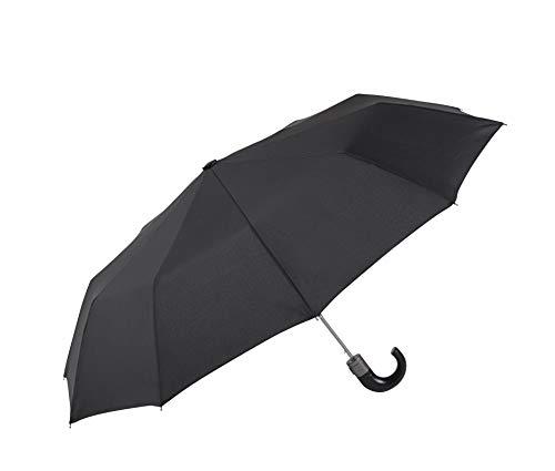 Parapluie pliable pour homme EZPELETA. Automatique et avec manchette courbée. Tissu uni Noir - Noir