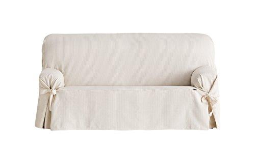 Eysa Bianca - Housse de canapé avec attaches avant et arrière, 100% coton, Ecru, deux places