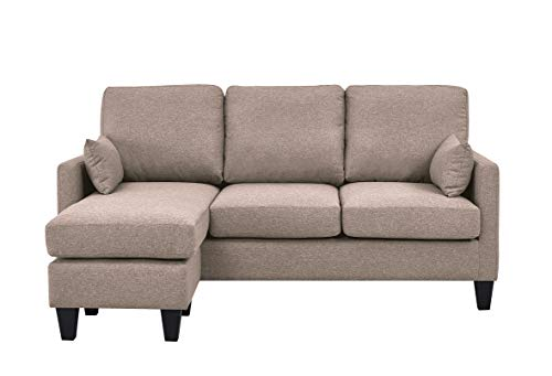 Astan Hogar 3 Plazas avec Chaise Longe, Tissu rembourré. Modèle Lena AH-AR40700AR Canapé-lit, Sable,