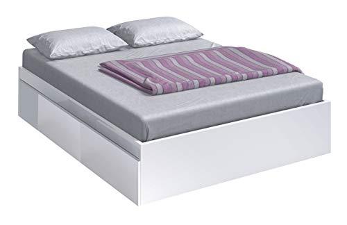 Habitdesign 006088BO - Lit avec 4 tiroirs pour sommier 150 x 190 cm, blanc vif, dimensions extérieures 196 x 156 x 37 cm Hauteur