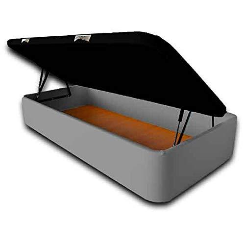 Ventadecolchones - Modèle Canapé Serena Grande Capacité Ouverture Côté rembourré en similicuir gris Dimensions 105 x 190 cm
