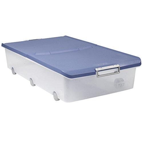 TATAY 1151107 - Boîte de rangement polyvalente sous le lit avec couvercle et roulettes, capacité 63 l, en plastique polypropylène sans BPA, transparente avec couvercle bleu, 45 x 78 x 18 cm