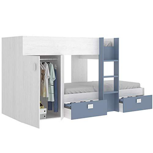 Home Decora Lit superposé juvénile avec 2 tiroirs et 1 armoire Fini Artique et Bleu tendre