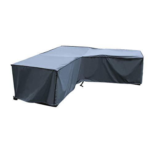 SORARA Housse de canapé d'angle | 255 x 255 x 255 x 70/100 cm (L x l x H) | Gris | Polyester résistant à l'eau (UV 50+) | Meubles de jardin extérieurs, Terrasse, Patio