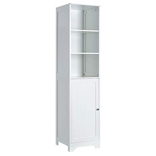 Armoire de 1 porte et 2 étagères en bois blanc Minimalista DM pour salle de bains Vitta - LOLAhome