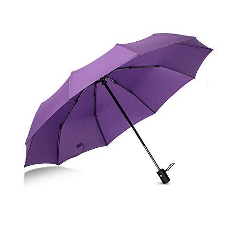 Parapluie Suxman compact et coupe-vent, parapluie pliable avec ouverture et fermeture automatique, tissu téflon 210T et 8 tiges renforcées. Poignée courbée antidérapante et confortable -Violée