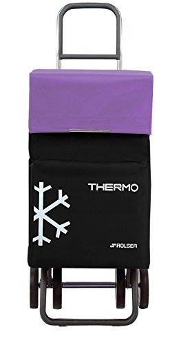 Rolser Termo Fresh MF Dos+2 - Panier 4 roues, avec sac thermique, noir et mauve