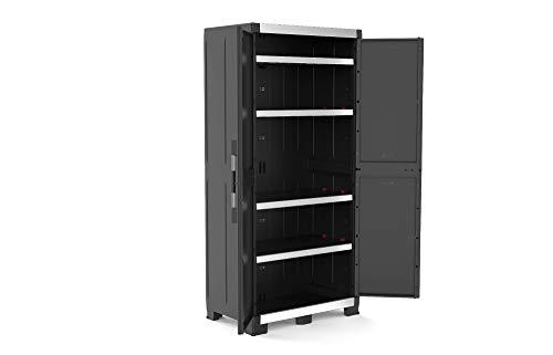Armoire haute Keter Garage XL avec 3 étagères, noir,