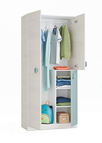 Habitdesign 0J7446Y - Armoire Jeunesse Fini en Blanc Alpes et Vert Acqua, Dimensions : 91x200x52 cm Bas de porte