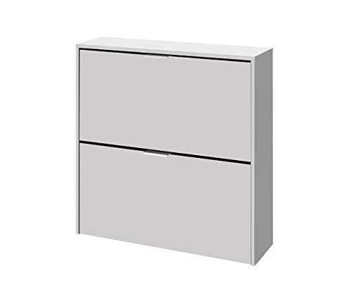 Habitdesign 007873O - Zapatero 2 Portes, Meubles Zapatero Strait Finition en blanc, Dimensions : 76 x 75 x 22 cm Fond inférieur