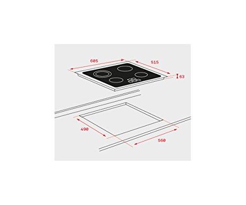 Teck TB6315 - Plaque de cuisson en teck (intégrée, plaque vitrocéramique, verre, garniture avant, tactile) Noir