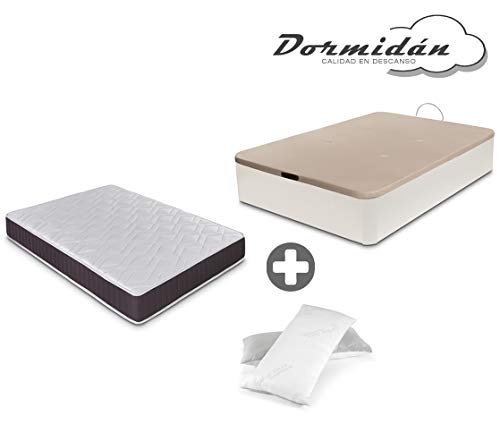 Dormidane - Pack canapé pliant grande capacité + matelas viscoélastique + oreiller cadeau Visco Flakes (135_x_190_cm, Blanc)
