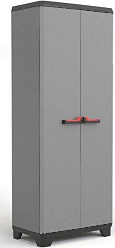 Armoire haute Keter Stilo avec 3 étagères, poignées grises/noires en rouge, 173 x 68 x 39 cm