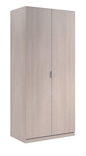 Habitdesign LCX022R - Armoire à deux portes, couleur chêne, dimensions : 180 x 81 x 52 cm, fond en bas