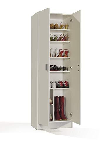 Habitdesign 007146O - Armoire à chaussures polyvalente, armoire auxiliaire blanche, dimensions 180 x 59 x 37 cm bas