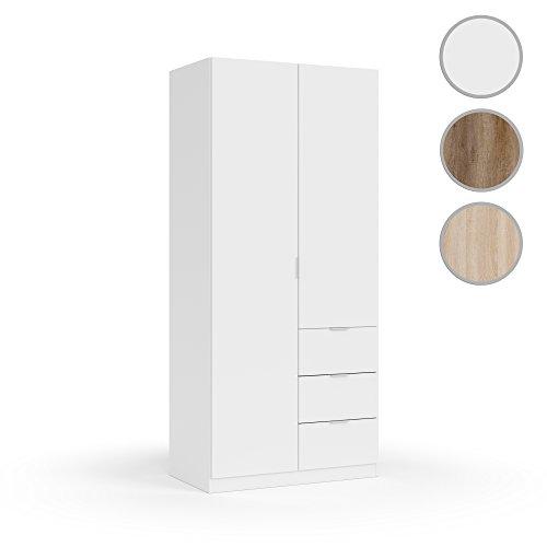 Habitdesign LCX352O Armoire à deux portes et trois tiroirs, Finition Blanc, Dimensions : 200x90x52 cm Bas de porte
