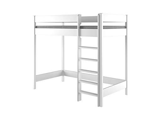 Lit superposé Hubi Loft Lit surélevé, bois, blanc, 180x90x160