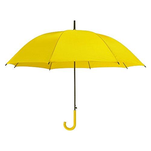 eBuyGB Parapluie automatique en plastique coloré à poignée croche en plastique parapluie/Brolly Classic, 107 cm, jaune