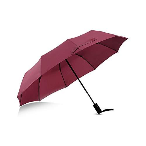 Parapluie Suxman compact et coupe-vent, parapluie pliable avec ouverture et fermeture automatique, tissu téflon 210T et 8 tiges renforcées. Poignée courbée antidérapante confortable (rouge)