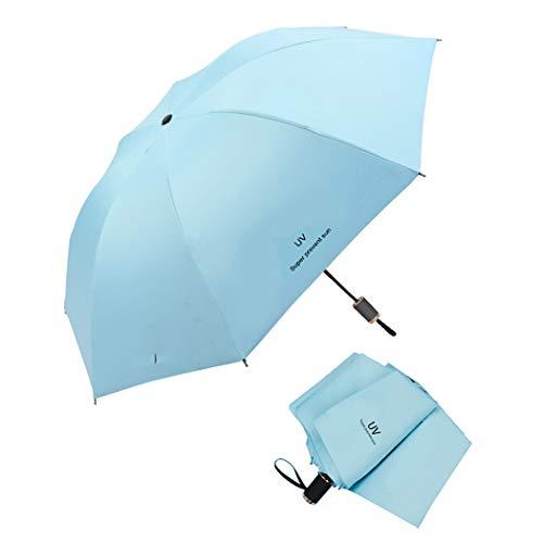 Parapluie de voyage pliable Tinyuet, parapluie portable 38 pouces à 8 côtes, tissu noir anti-UV UPF50 en caoutchouc pour activités extérieures - Bleu ciel