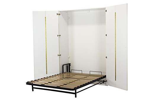 WallBedKing - Lit mural (lit double, lit pliant, lit mural, lit d'appoint) dans l'armoire (double, blanc)