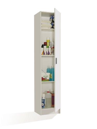 FORES - 007141O - Armoire polyvalente, 1 porte, couleur Blanc, dimensions : 182 x 37 x 37 cm de profondeur