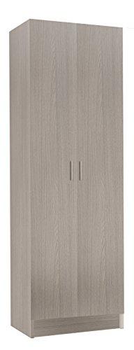 Habitdesign 007144R- Armoire polyvalente à deux portes, armoire auxiliaire couleur chêne, dimensions 180 x 58,5 x 37 cm de profondeur