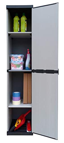 Adventa - Armoire 1 porte en résine avec étagères réglables (intérieur/extérieur), gris noir, 34 x 39,5 x 168 cm