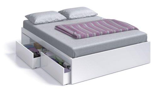 Lit Due-home 150x190 avec 4 tiroirs Finition Blanc Brillant