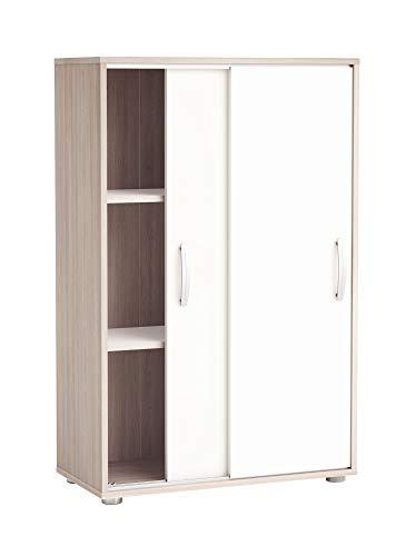 Miroytengo Armoire armoire armoire auxiliaire Portes coulissantes Couleur Blanc et Chêne 68x33x106 cm