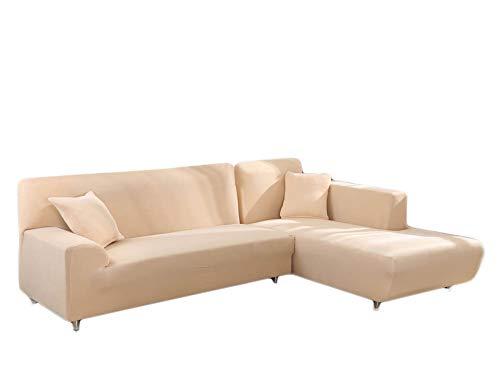 HInmdLndsj Résistance élastique inclus Housses de canapé, Housses de serviette de sofa pour protéger le coussin de salon Quatre saisons universel antidérapant Sofa-Beige 190-230cm (75-91inch)