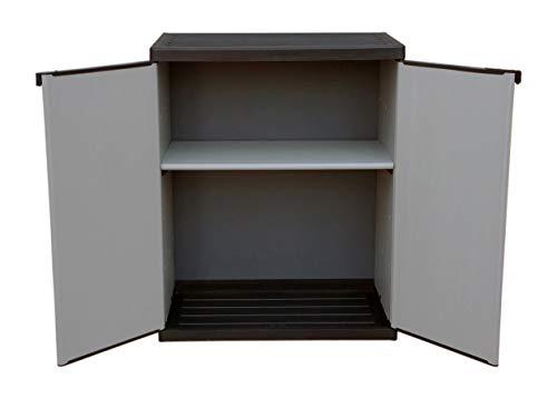 Adventa - Armoire basse en résine avec 2 plateaux de porte (intérieur/extérieur), gris noir, 68 x 39,5 x 85 cm
