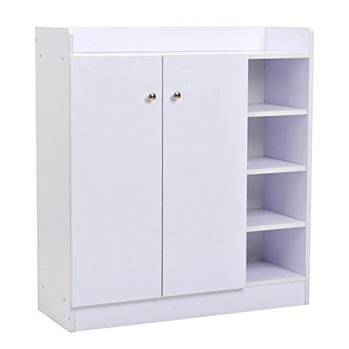Armoire de cordonnier Armoire de meuble 2 Chaussures d'étagère de porte 4 étagères intérieures et 4 étagères extérieures 80x30x90cm