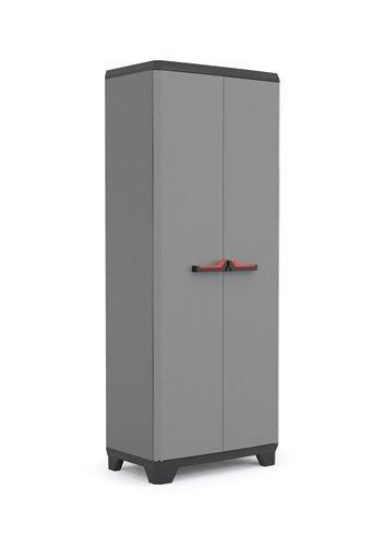 Armoire à balai Keter Stilo, gris/noir avec poignées rouges, 173 x 68 x 39 cm