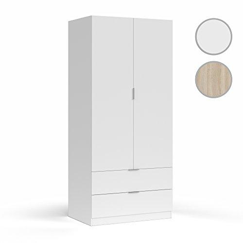 Habitdesign LCX222O - Armoire 2 Portes et 2 tiroirs, Armoire à coucher, Finition blanche, Dimensions : 181x81x52 cm Profondeur