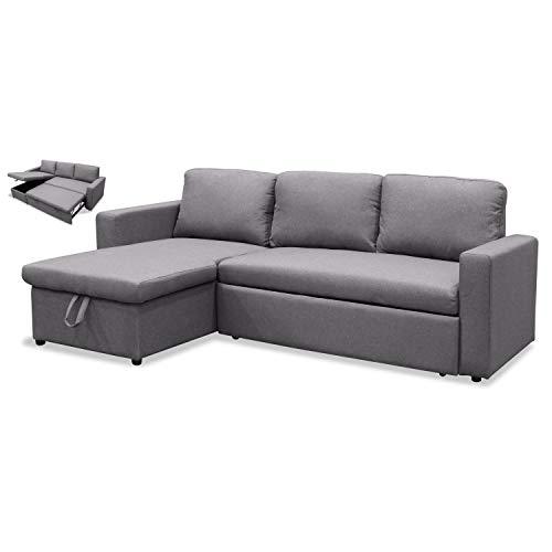 Canapé lit pas cher avec chaise longue, Subida Domicilio, Color Gris, ref-108