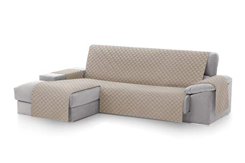 Housse de couverture de canapé textil-home Chaise Longue Malu, Protecteur de canapé rembourré Bras gauche. Taille -240cm. Couleur Beige (Vue de face)