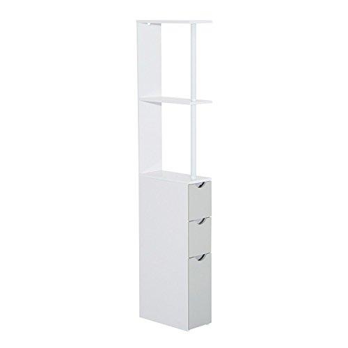 HomCom Salle de bains armoire haute avec 2 étagères 1 porte et 2 tiroirs - blanc - 15x33x136cm