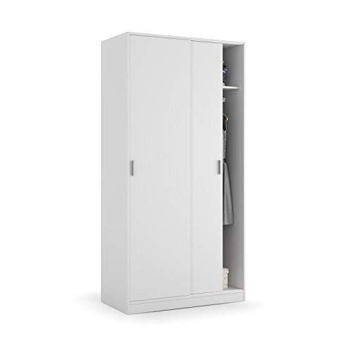 Habitdesign MAX019O - Armoire à deux portes coulissantes, blanc mat, Dimensions : 100x200x50 cm Bas