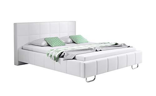 beau mobilier Modern Marriage Bed Sofia avec sommier à lattes pour matelas 160x200cm blanc design italien Elegant